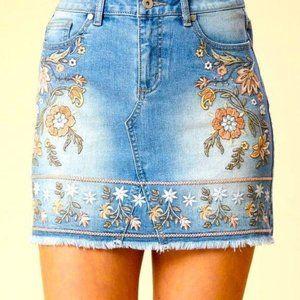 Altar'd State Embroidered Denim Skirt XS NWOT